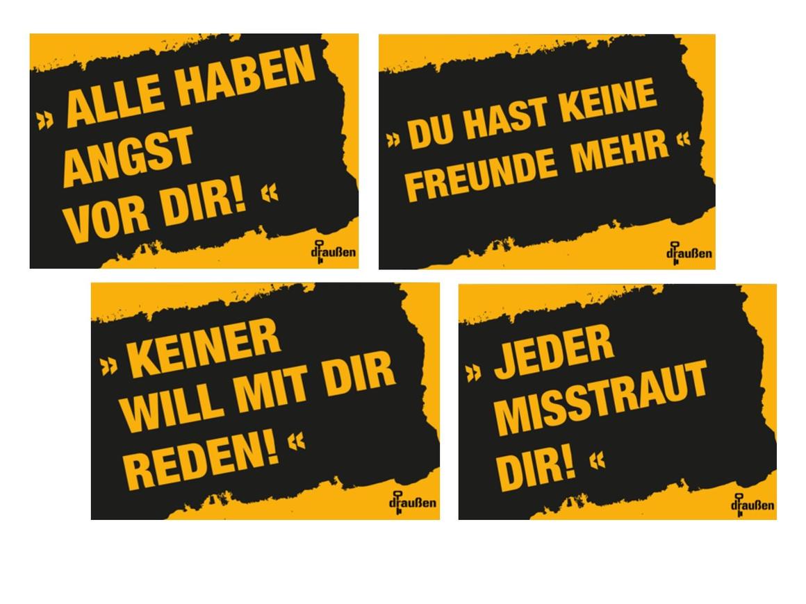 """Postkarten und Aufkleber des Projektes """"Info-Offensive draußen"""""""